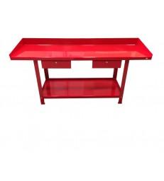Banco da lavoro , 2 metri, 2 cassetti, 4 gambe, colore rosso Derby GR09