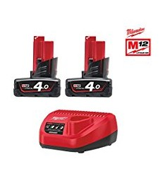 KIT 2 BATTERIE 4.0AH E CARICABATTERIE -M12 MILWAUKEE NRG402