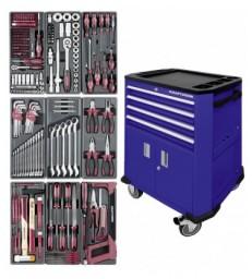 Carrello porta utensili a 4 cassetti e 2 sportelli BLU