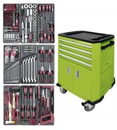 Carrello porta utensili a 4 cassetti e 2 sportelli verde