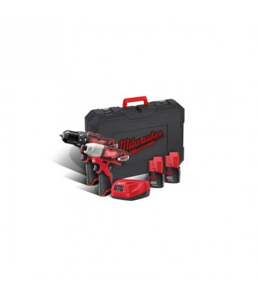 KIT 12V TRAPANO CON PERCUSSIONE + AVVITATORE AD IMPULSI MILWAUKEE