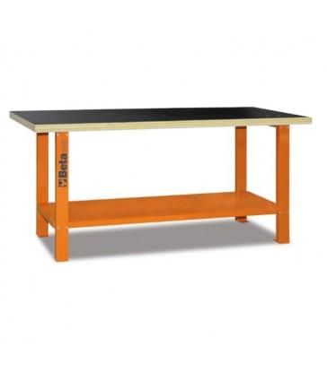 Banco da lavoro con piano in legno Arancione C56B