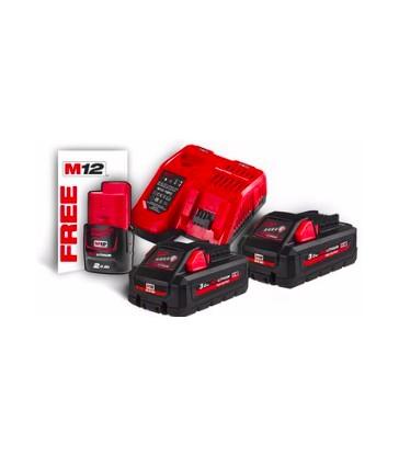 Kit 2 batterie3 3Ah + 1 batterie 2Ah + Caricabatterie e Borsa Milwaukee