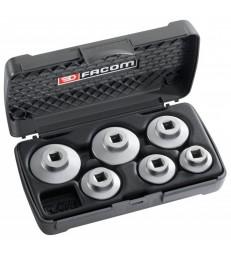 Assortimento 6 chiavi a bussola ribassate per filtri olio facom d. 163-j6
